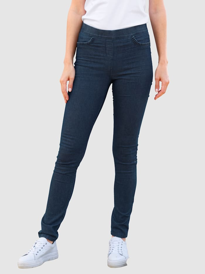 basically you Jeansleggings med ryschdetalj, Dark blue