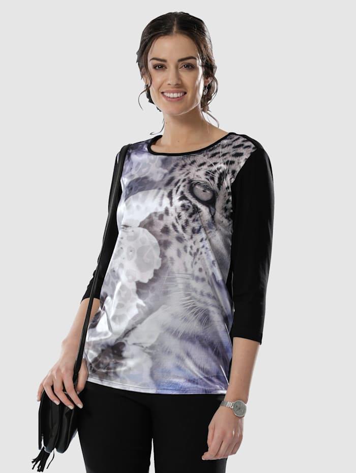 Paola Shirt mit Webeinsatz im Vorderteil, Schwarz