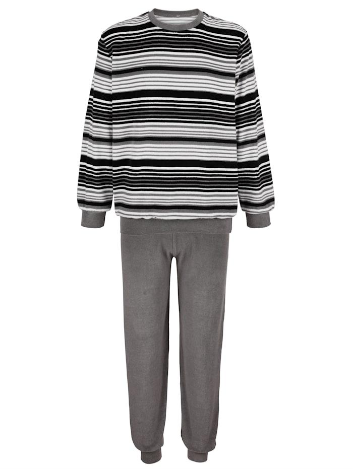 Roger Kent Pyjama en éponge confortable, Noir/Gris/Blanc