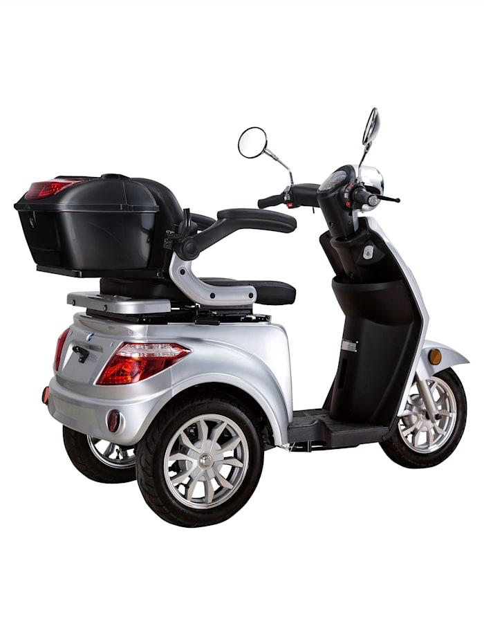 """Dreirad-Elektroroller """"E-Trike"""" silber/schwarz - 20 km/h mit Gepäckfach und zusätzlicher abschließbarer Gepäckbox"""