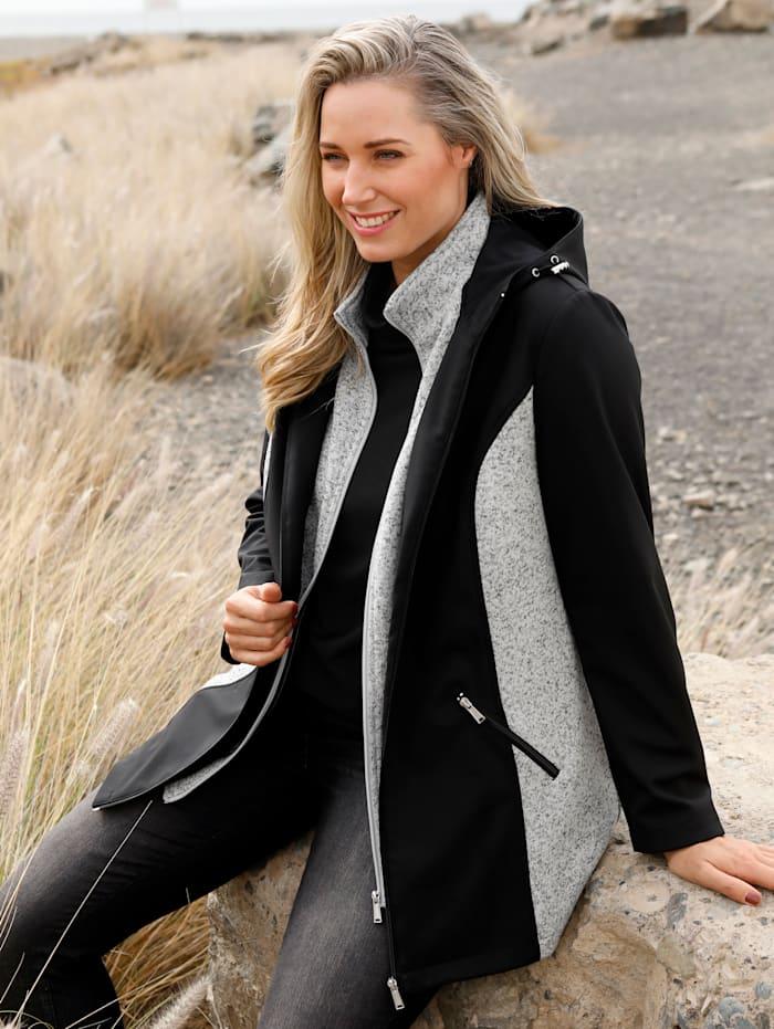 MIAMODA Softshell jas met gebreide inzetten, Zwart/Grijs