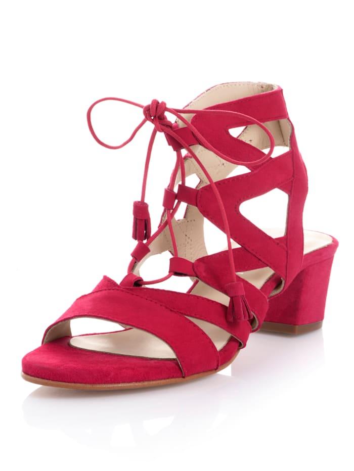 Alba Moda Sandalette aus weichem Ziegenveloursleder, Rot
