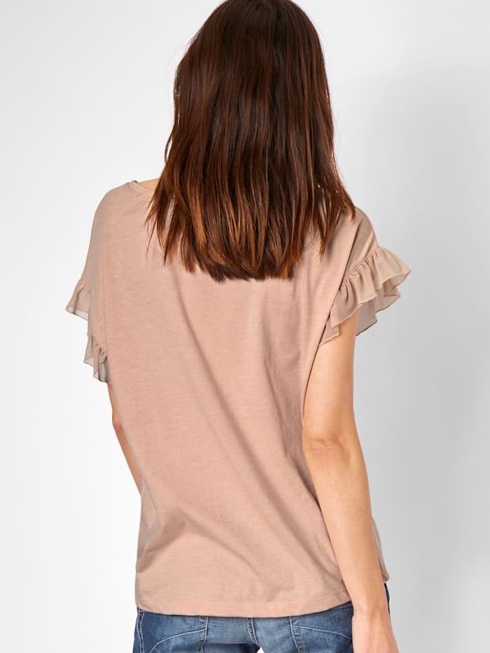 T-Shirt mit Rüsche aus Tüll