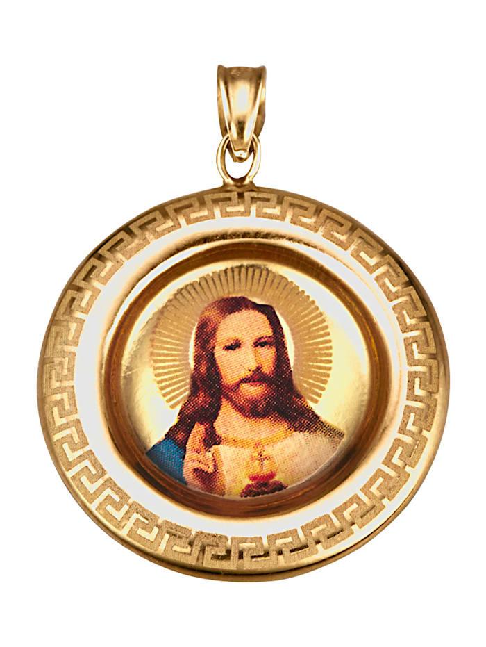 KLiNGEL Christus-Anhänger in Gelbgold 375, Gelbgoldfarben