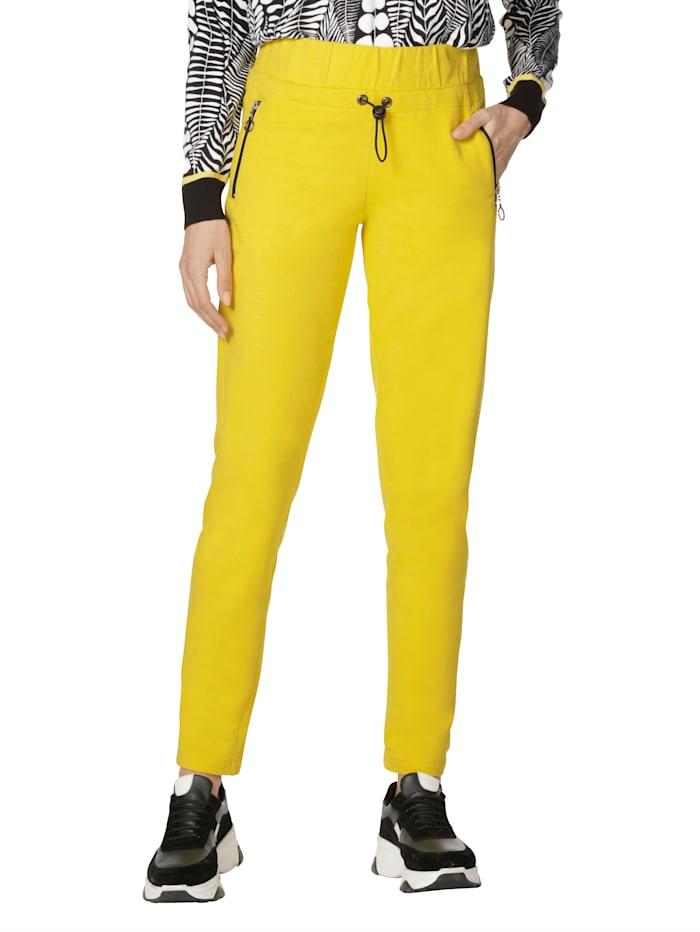 AMY VERMONT Sweathose mit Reißverschlüssen in Kontrastfarbe, Gelb