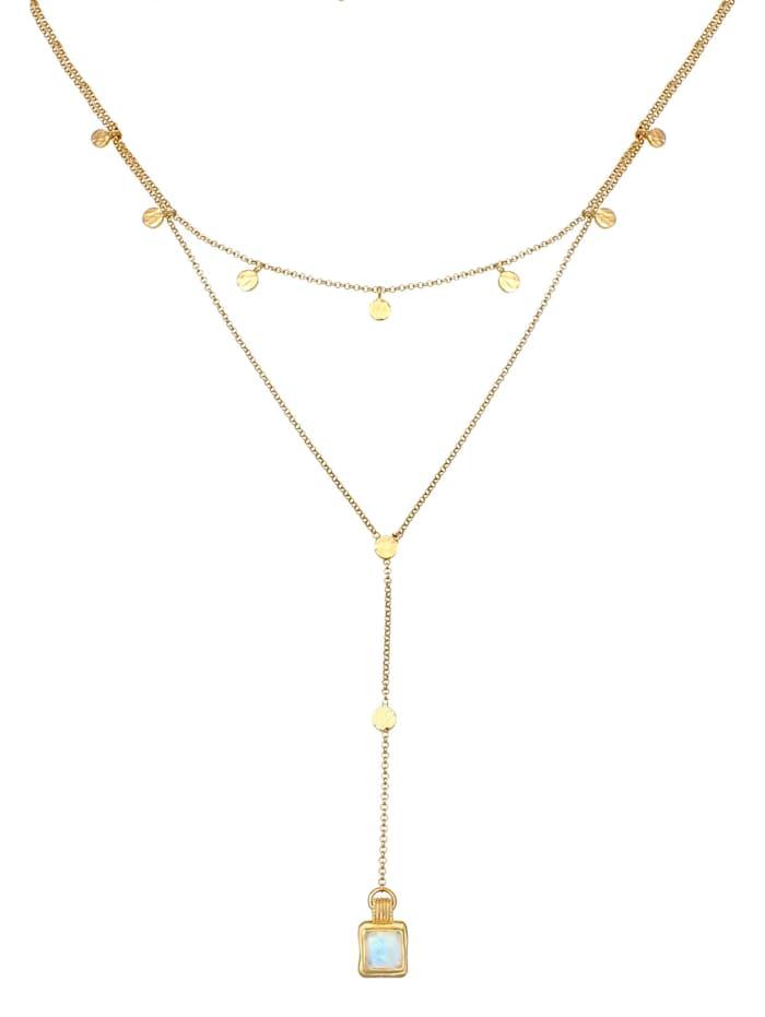 Halskette Set Choker Y-Kette Mondstein Plättchen 925 Silber