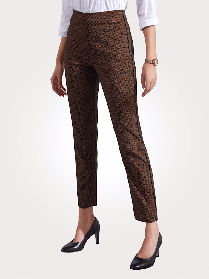 Relaxed by Toni Pull-on trousers with contrast piping, Burnt Orange