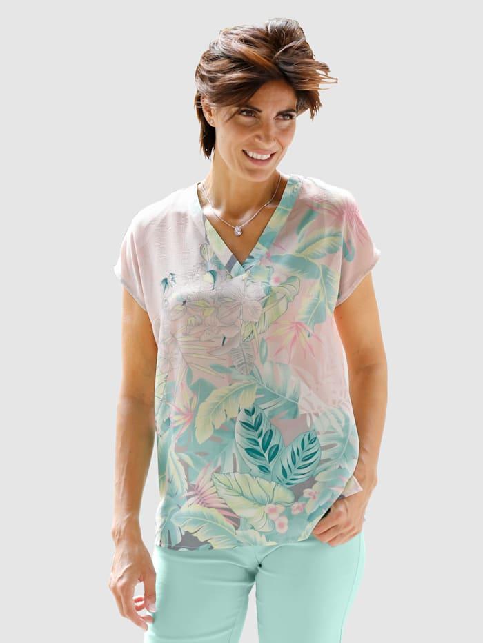 Paola Tunika med trykt blomstermønster, Blekrosa/Gul/Mint