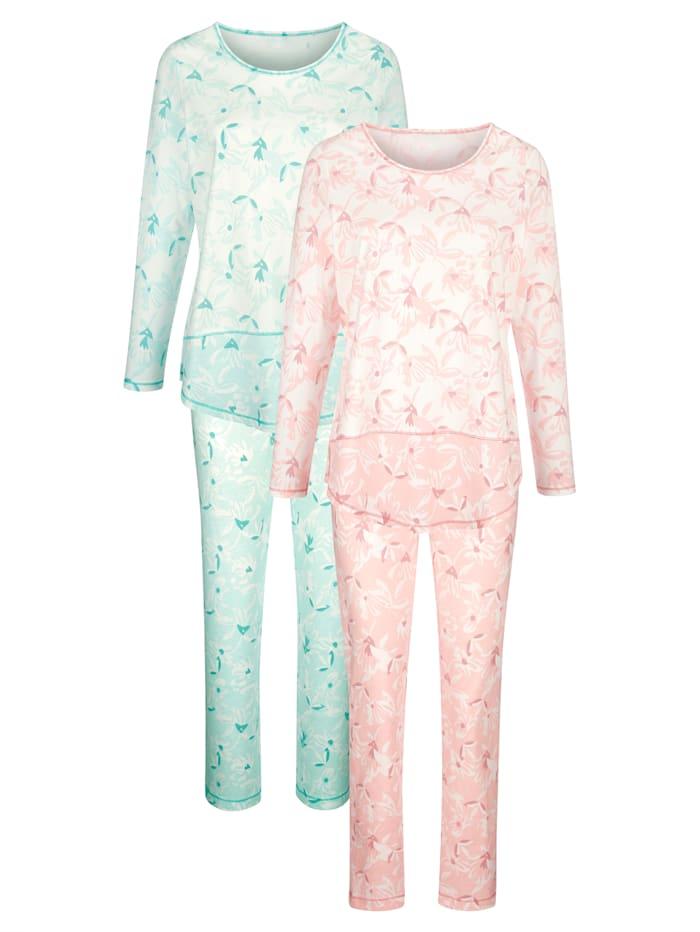 Harmony Pyjama's per 2 stuks met leuke contrasterende inzetten, Oudroze/Jadegroen/Ecru