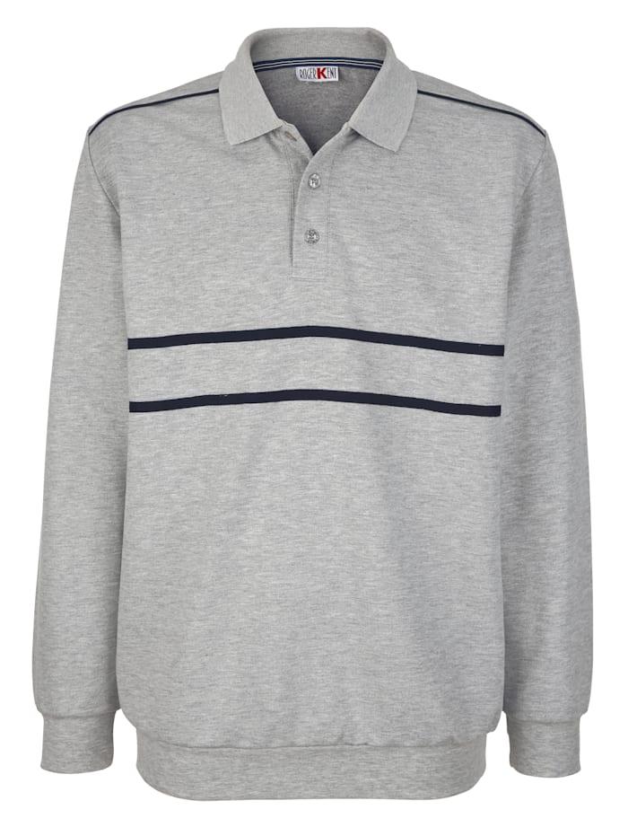 Roger Kent Sweatshirt mit Kontrastverarbeitung, Grau