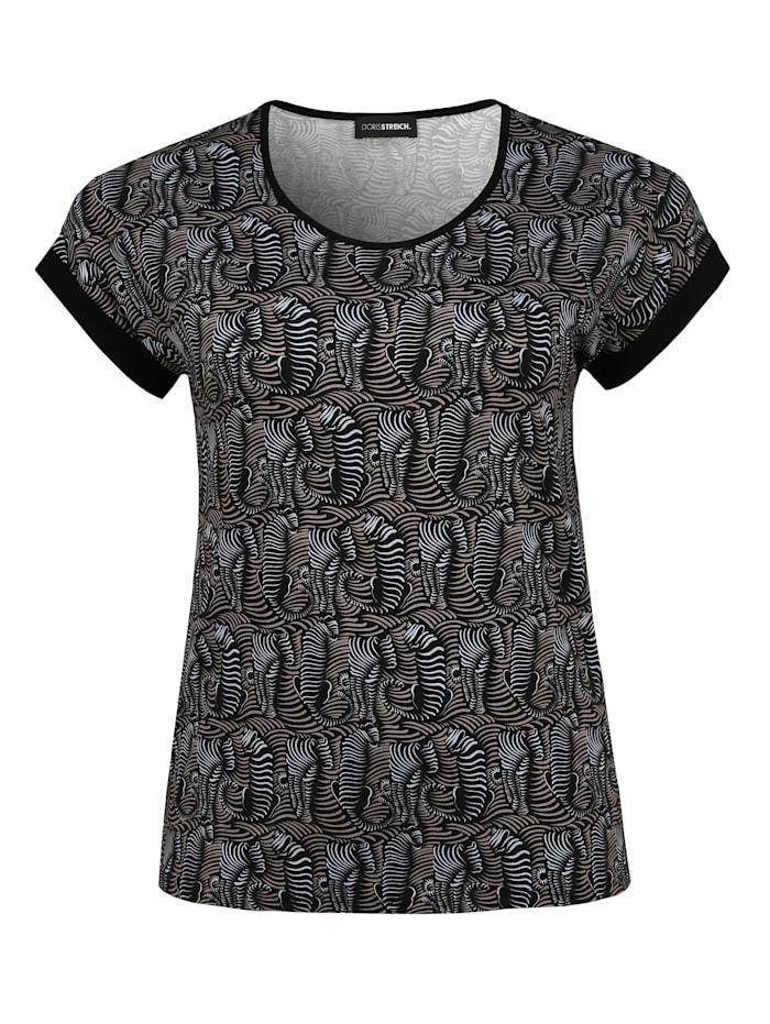 Doris Streich Shirt mit Allover-Muster Ton-in-Ton-Nähte, hellblau