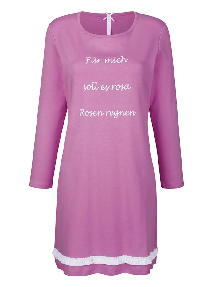 Louis & Louisa Nachthemd mit hübschem Rüschenbesatz rundum, Pink/Weiß