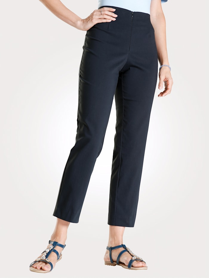 MONA Ankle length trousers made from a cotton blend, Navy