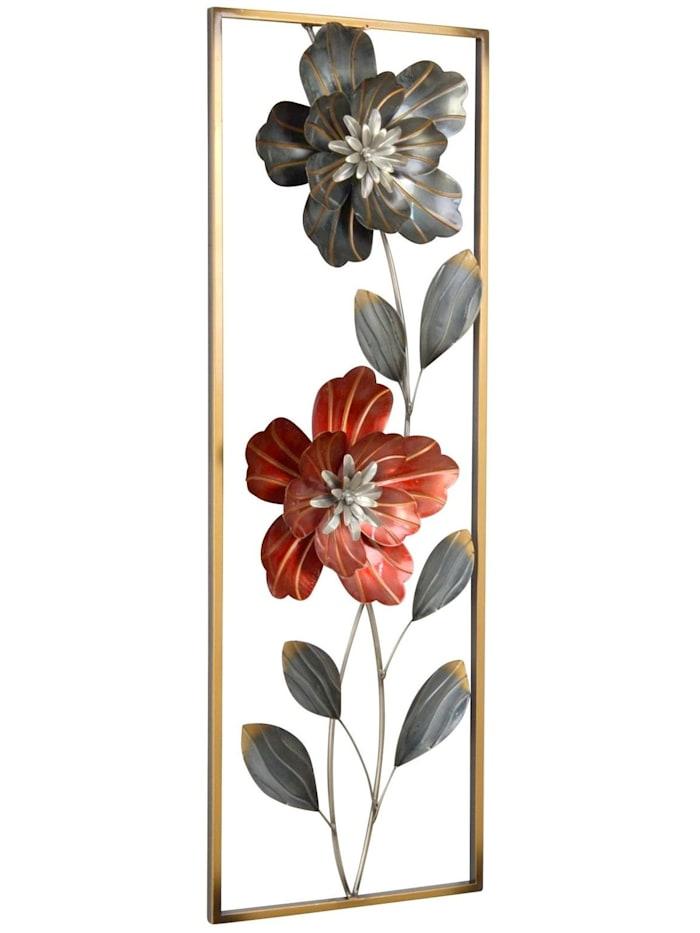 Möbel-Direkt-Online Wanddekoration Blumen, gold/silber und rot lackiert