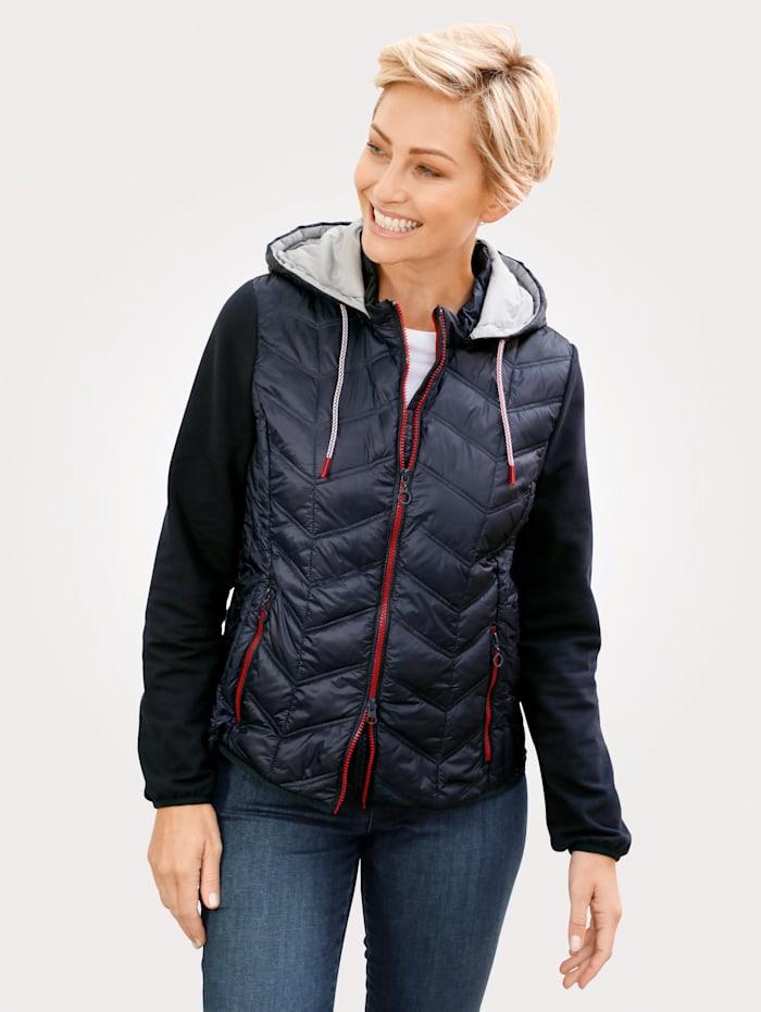 MONA Jacke mit abnehmbarer Kapuze, Marineblau/Rot