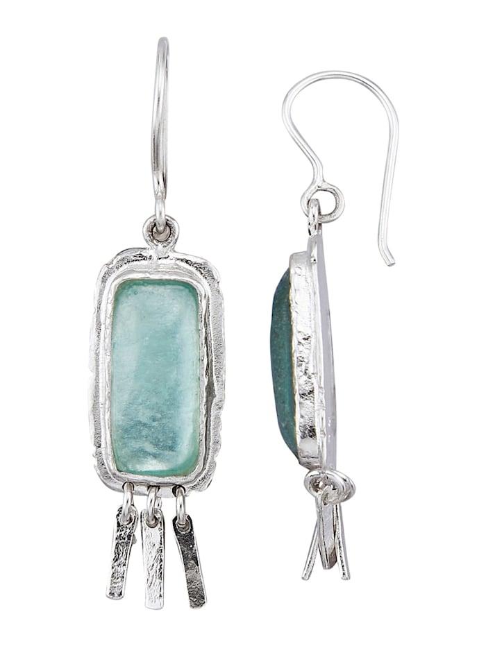 Roman Glass Oorbellen van echt zilver, Groen