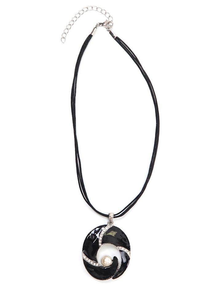 Collezione Alessandro Kurze Kette Muriel mit Perle aus Kunstharz, schwarz