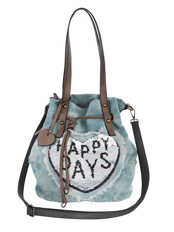 Taschenherz Tas met contrastkleurige keerbare pailletten, lichtblauw/jeansblauw