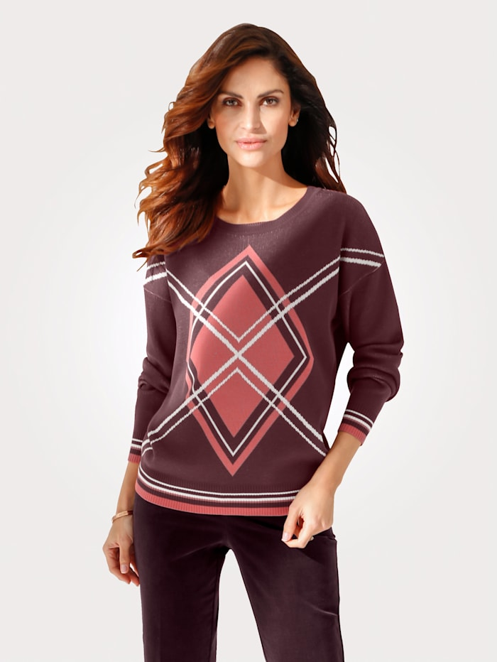 MONA Jumper with a jacquard pattern, Dark Rose/Bordeaux