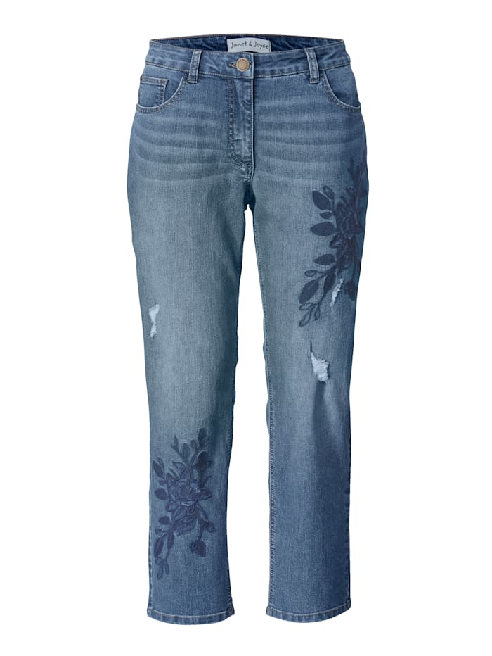 Slim Fit Jeans knöchellang mit Stickerei