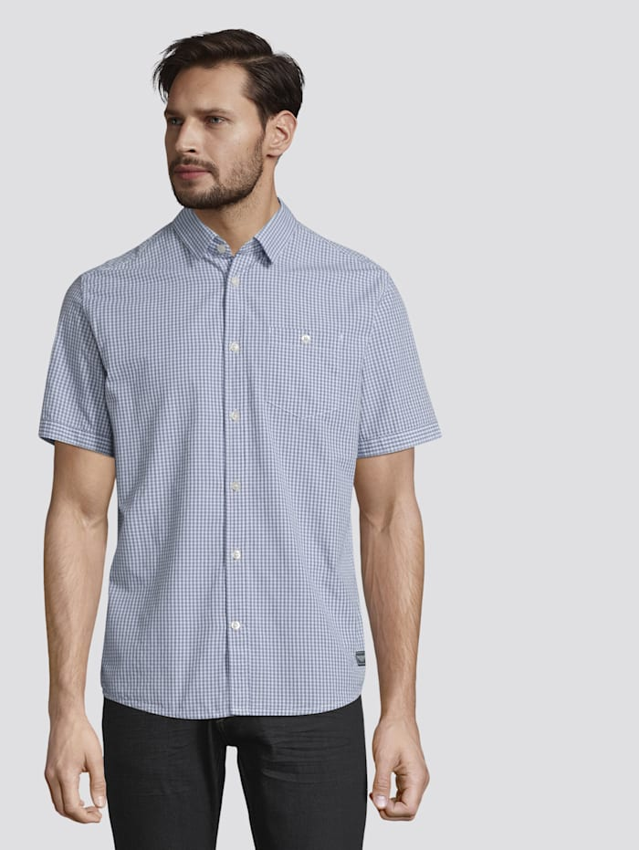 Tom Tailor Kariertes Kurzarm-Hemd mit Brusttasche, light blue fil a fil vichy