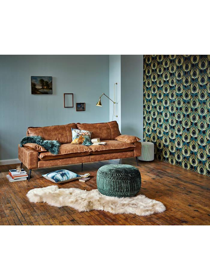 IMPRESSIONEN living Sofa mit Materialmix, Recyceltes Leder & Samt, braun
