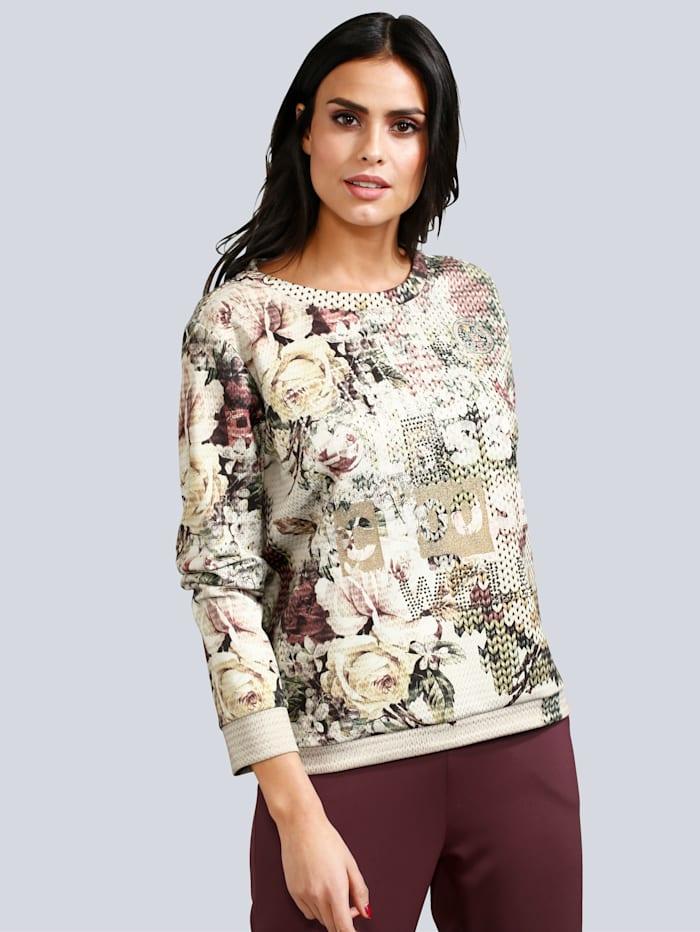 Sweatshirt mit Allover Print in Strickoptik und floralen Motiven