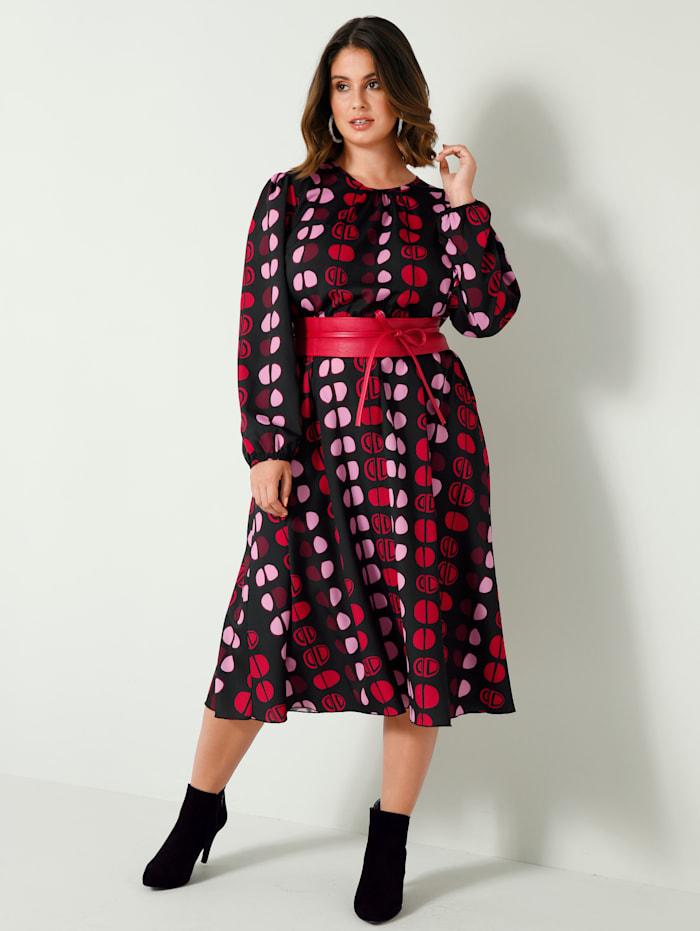 Sara Lindholm Jurk met elastische taille, Zwart/Rood/Pink