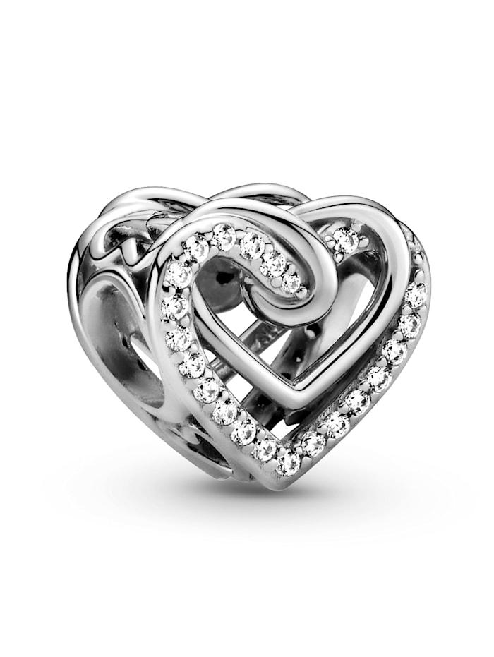 Pandora Charm -Funkelnde verschlungene Herzen- 799270C01, Silberfarben