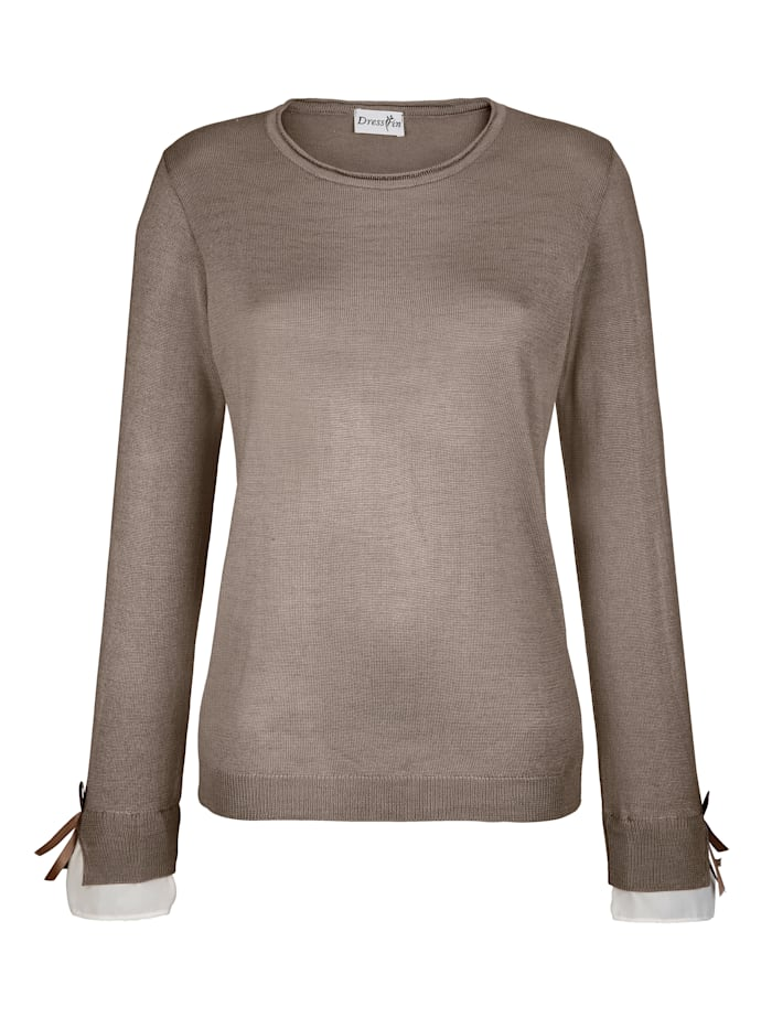 Dress In Pullover mit Webeinsatz am Arm, Taupe