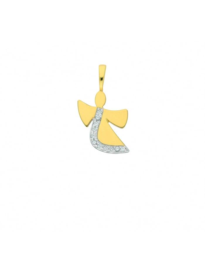 1001 Diamonds Damen Goldschmuck 585 Gold Anhänger Engel mit Zirkonia, gold