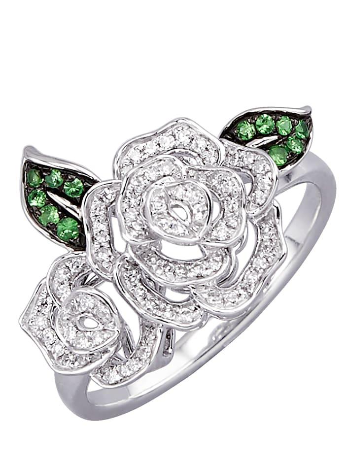 Diemer Diamant Rosformad ring med diamanter, Vitguldfärgad