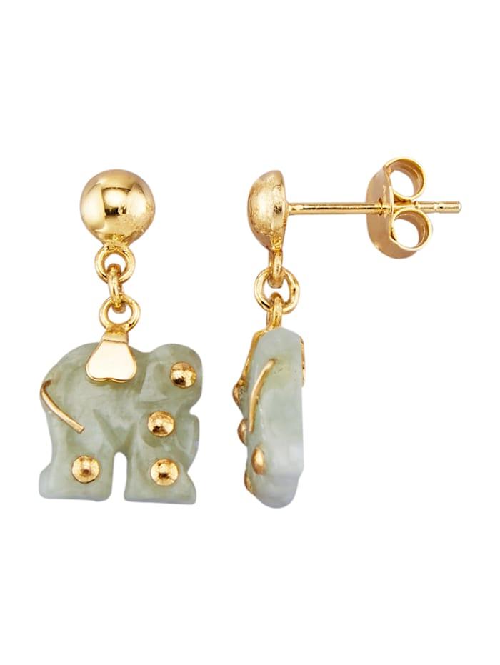 Örhängen med elefanter, Grön