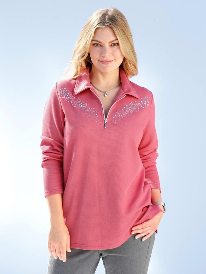 m. collection Sweatshirt mit Plättchenverzierung entlang des Ausschnitts, Koralle