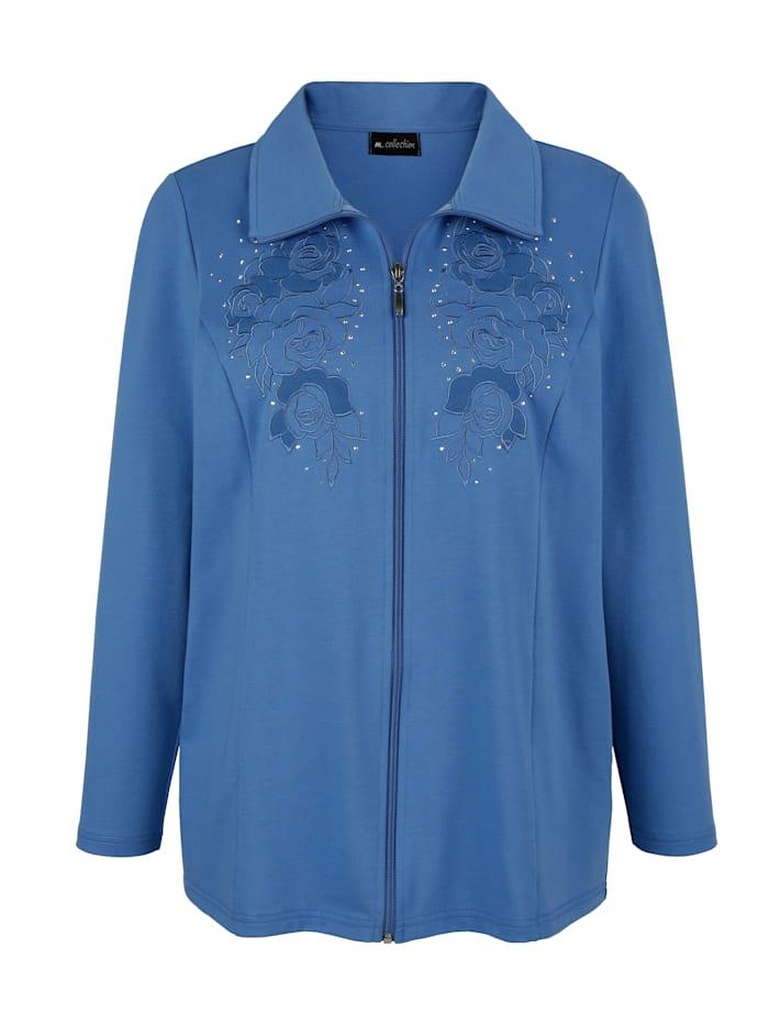m. collection Sweatvest met fraai borduursel, Blauw