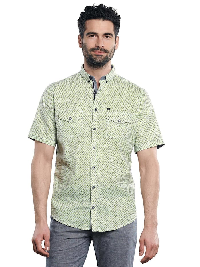 Engbers Stretch Hemd mit Kontrastdetails, Limonengelb
