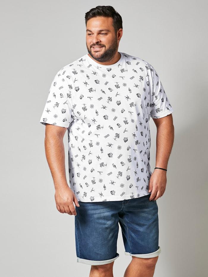 Men Plus T-Shirt mit allover Print, Weiß/Schwarz