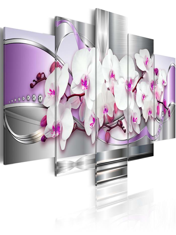 artgeist Wandbild Orchidee und Fantasie, Violett,Grau,Weiß