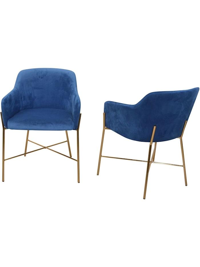 Möbel-Direkt-Online Samt-Polsterstuhl (2Stück) Neddy, blau