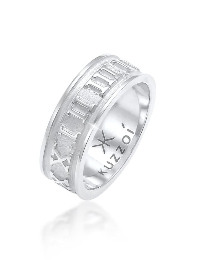 Kuzzoi Ring Herren Bandring Römische Zahlen 925 Silber, Silber