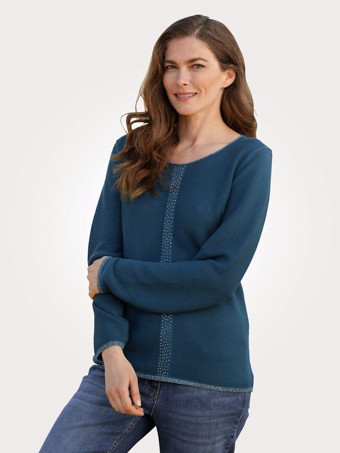 MONA Pullover mit Rippen-Struktur, Petrol