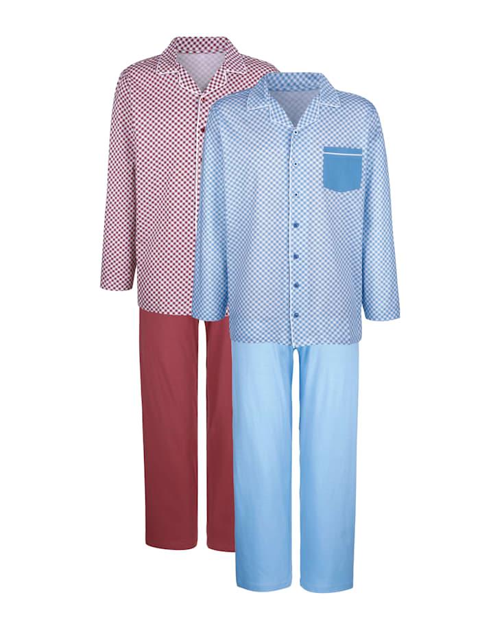 Roger Kent Pyjama's per 2 stuks, Lichtblauw/Bordeaux