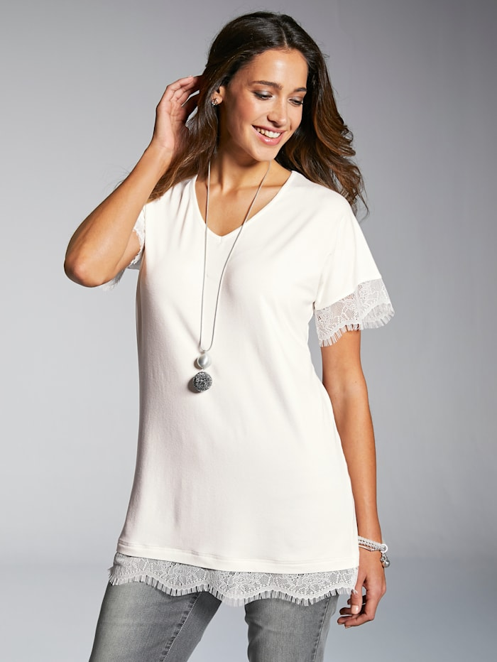 MIAMODA Shirt mit Spitzenbogenkante an Ärmeln und Saum, Creme-Weiß