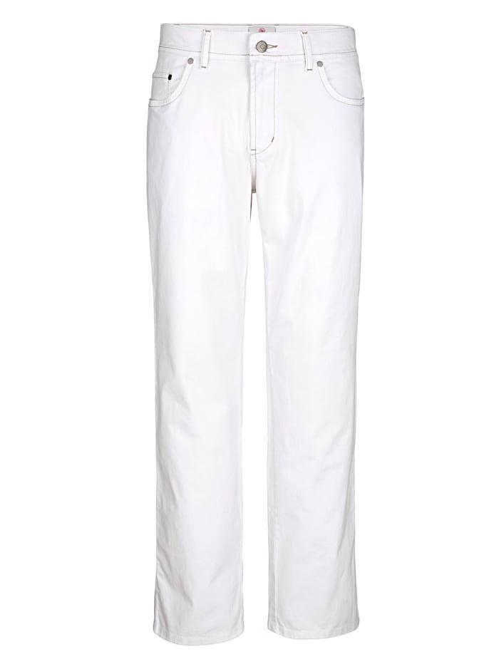 Boston Park Pantalon 5 poches à part destretch, Blanc