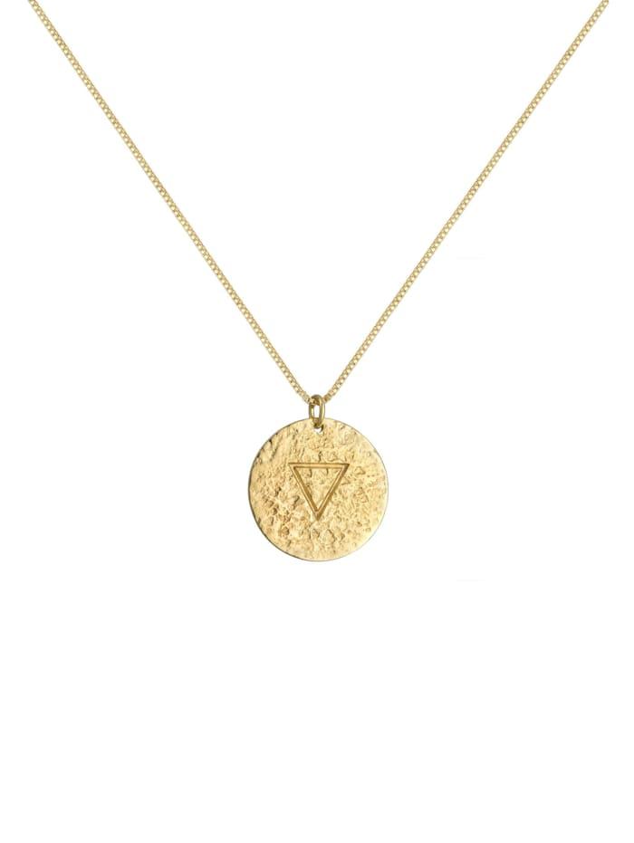 Halskette Wasser Element Symbol Coin Vintage Look 925 Silber