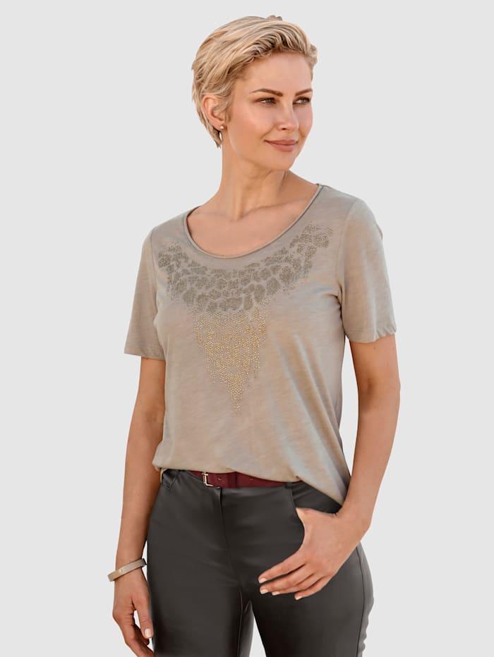 MONA Shirt met strassteentjes, Beige