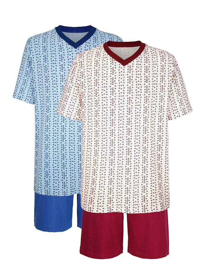 Roger Kent Krátke pyžamo, Bordová/Svetlomodrá
