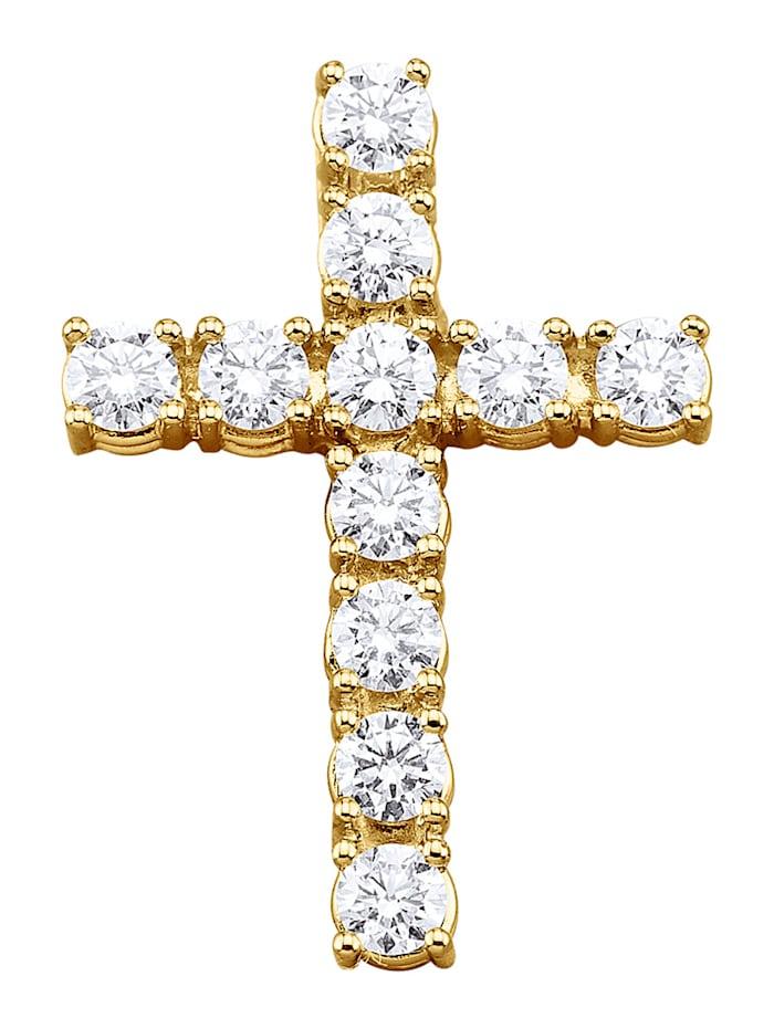 Diemer Diamant Kreuz-Anhänger mit Brillanten, Weiß