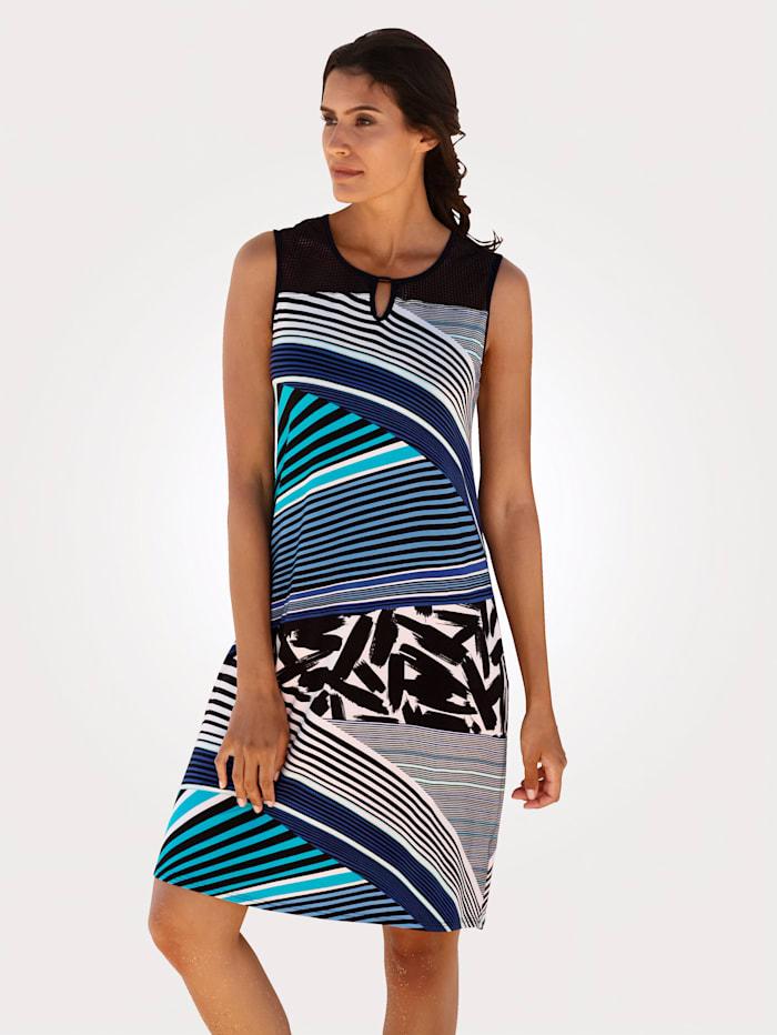 Sunflair Strandklänning med trendiga ränder, Blå/Vit/Svart