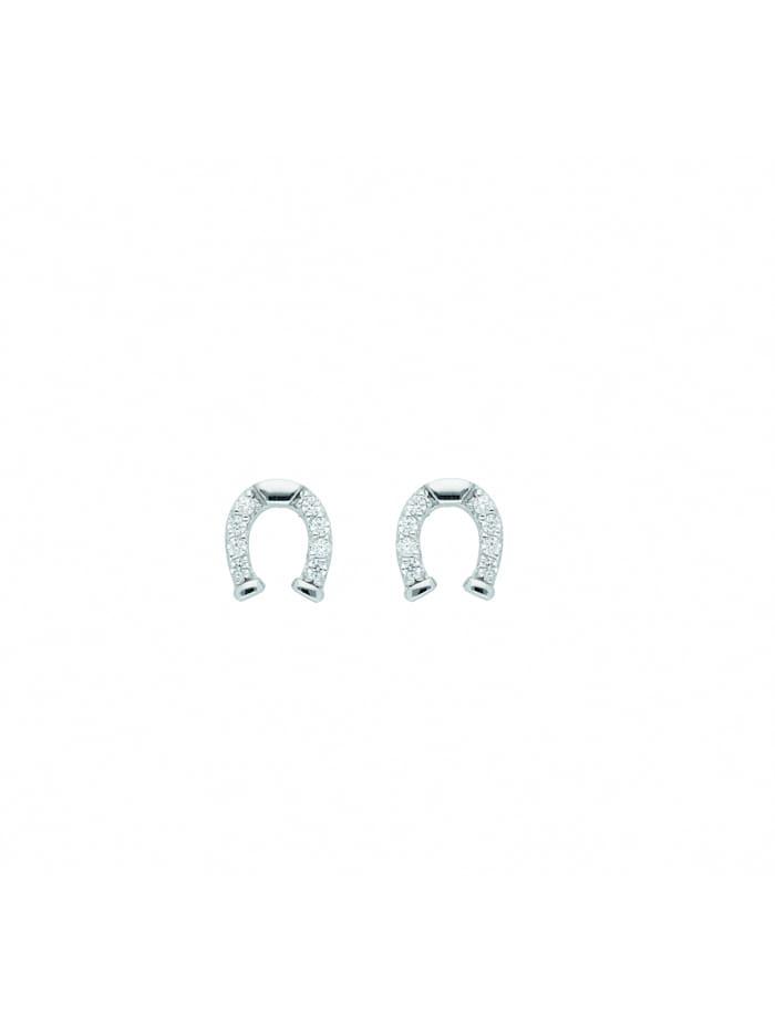 1001 Diamonds 1001 Diamonds Damen Silberschmuck 925 Silber Ohrringe / Ohrstecker Hufeisen mit Zirkonia, silber